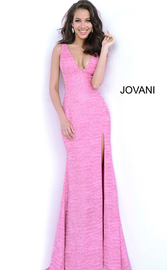 Hot Pink V Neck Fitted Prom Dress 02472