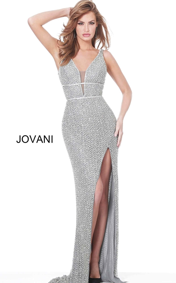 jovani Jovani 02505 Gunmetal High Slit Plunging Neck Prom Dress