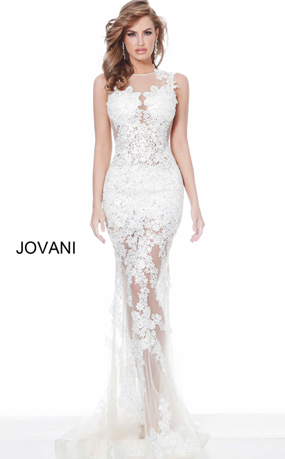 Jovani 02531 Off White Nude Embroidered Sleeveless Prom Dress