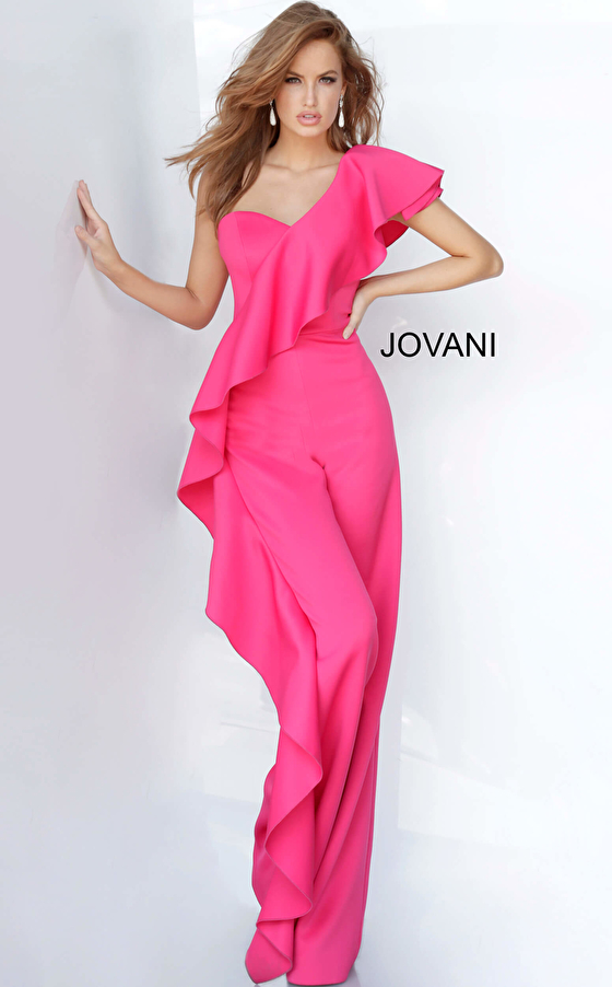 One Shoulder Ruffle Jovani Prom Jumpsuit 02617