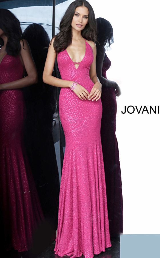Fuchsia Plunging Neck Tie Back Prom Dress 02781