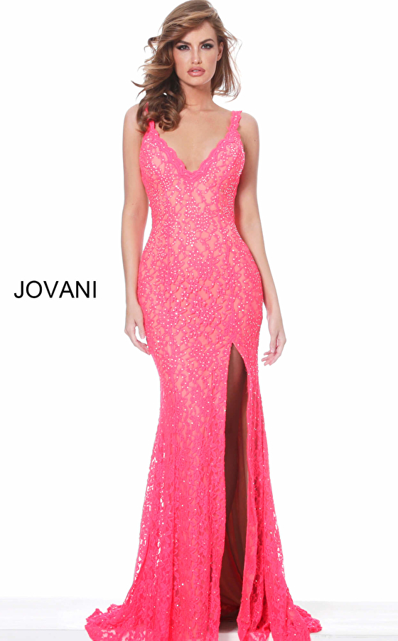 Jovani 02902 Neon Coral Embellished Lace Prom Dress