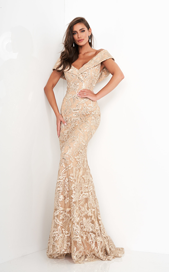 Jovani 02923 Gold Lace V Neck Evening Gown