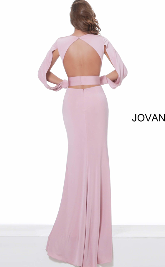 Jovani 03376 Mauve Low V Neck Long Sleeve Prom Gown