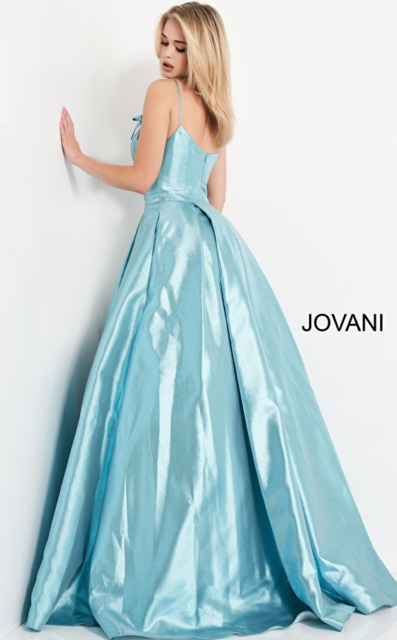Blue prom ballgown 03479 back view