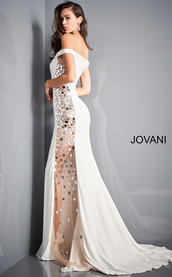 Jovani 03615 Off White Cut Glass Sides Prom Gown