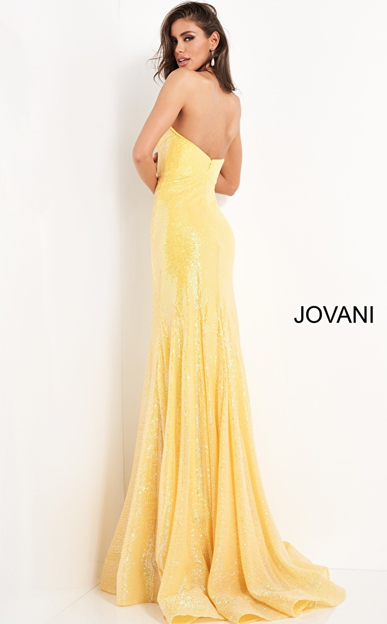 Jovani 04831 yellow fitted prom dress