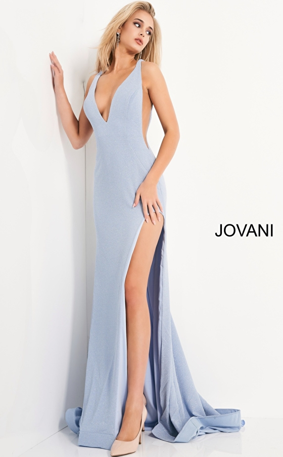 jovani Jovani 04998 Blue High Low Glitter Prom Dress