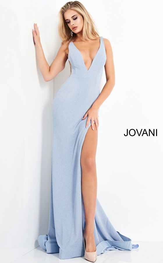 Blue high slit Jovani prom dress 04998