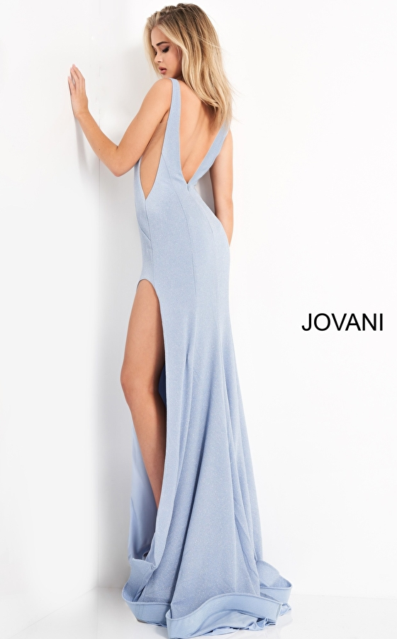 Blue stretch fitted prom dress Jovani 04998