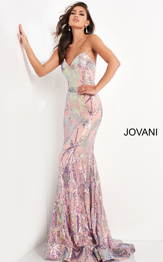 Pink sequin fitted prom dress Jovani 05100