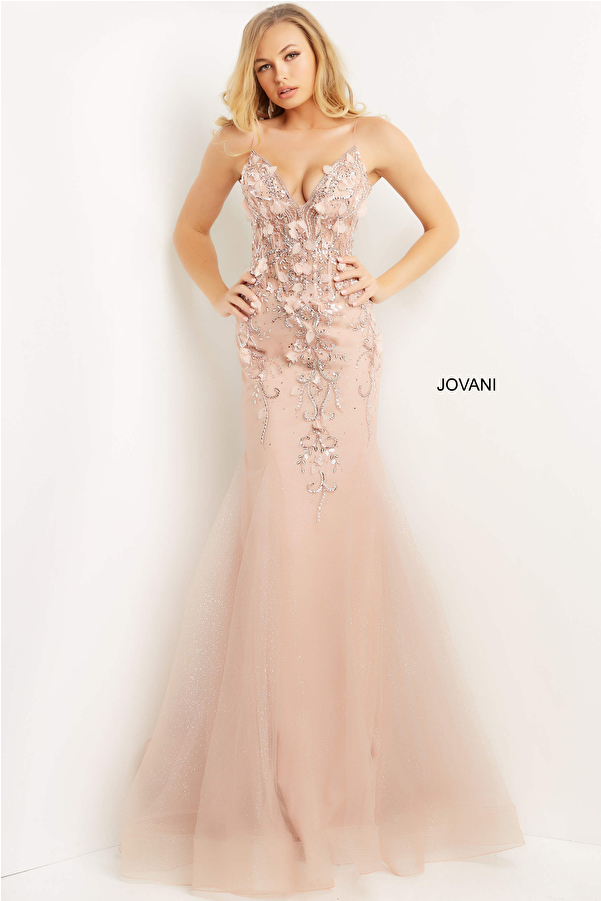 Jovani 05839 Blush Plunging Neck Mermaid Prom Dress