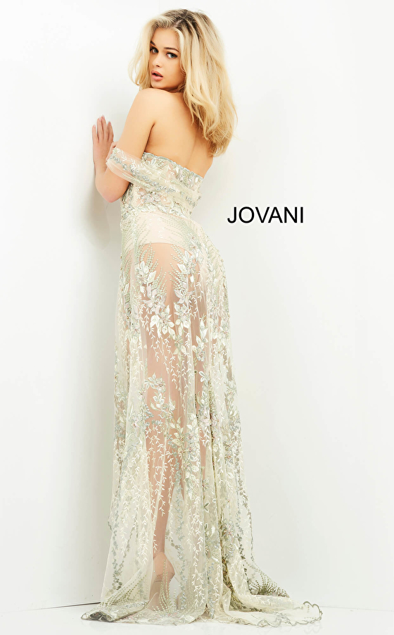 Embroidered multi color dress Jovani 06273