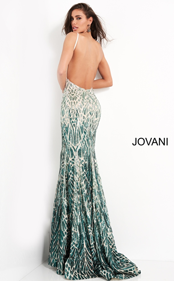 Silver green sequin low back Jovani prom dress 06450