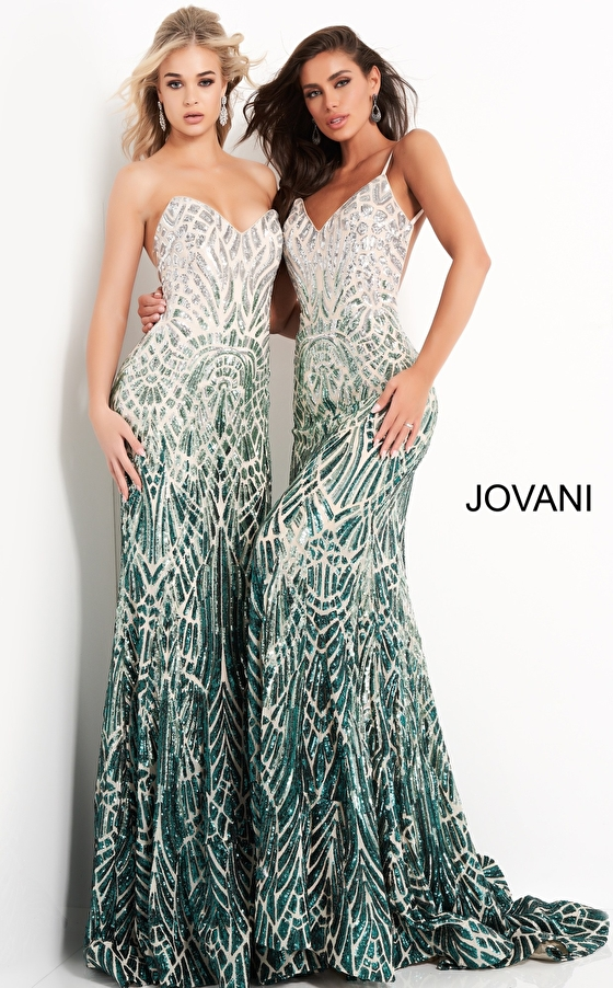 Floor length fitted green Jovani dresses