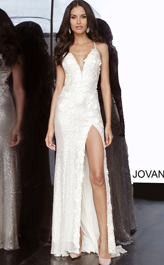 cream embellished Jovani dress 1012