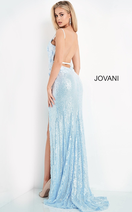 backless blue dress 1012