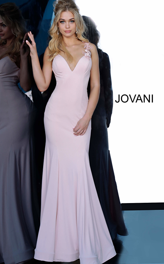 Blush V Neck Embellished Shoulder Jersey Prom Dress 1074