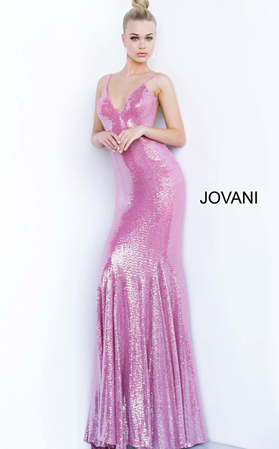 Pink Fitted Backless  Jovani Prom Dress 1087
