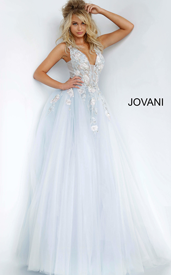 jovani Light Blue Tulle Floral Embroidered Prom Ballgown 11092