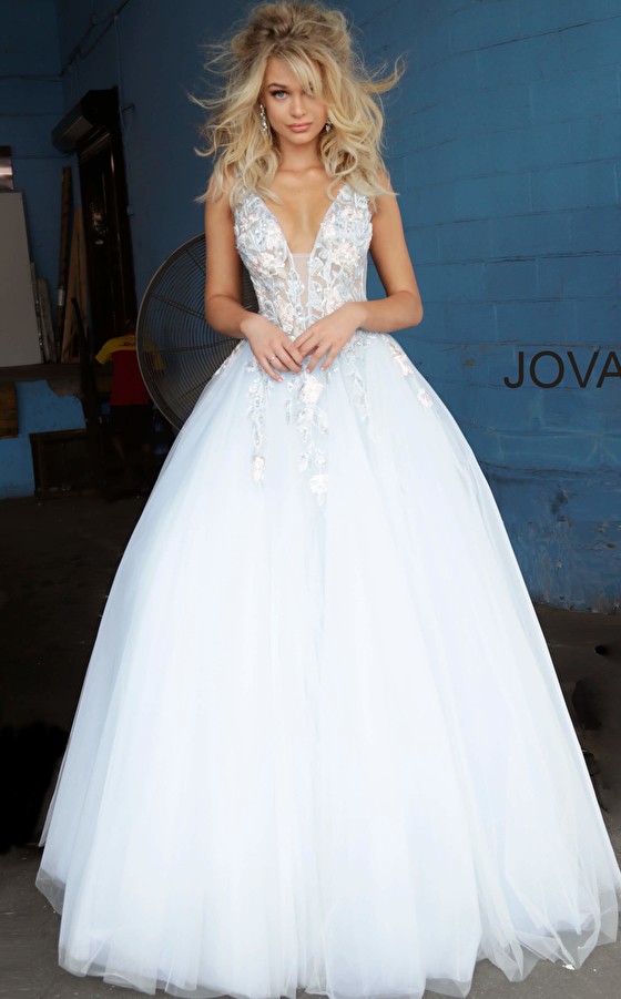Light Blue Tulle Floral Embroidered Prom Ballgown 11092