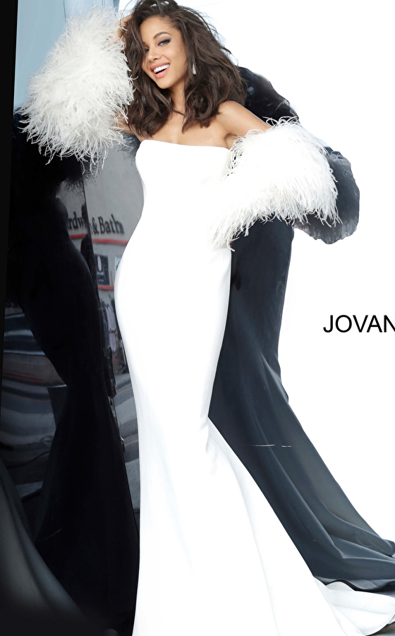 White Strapless Fur Sleeves Jovani Gown 1226