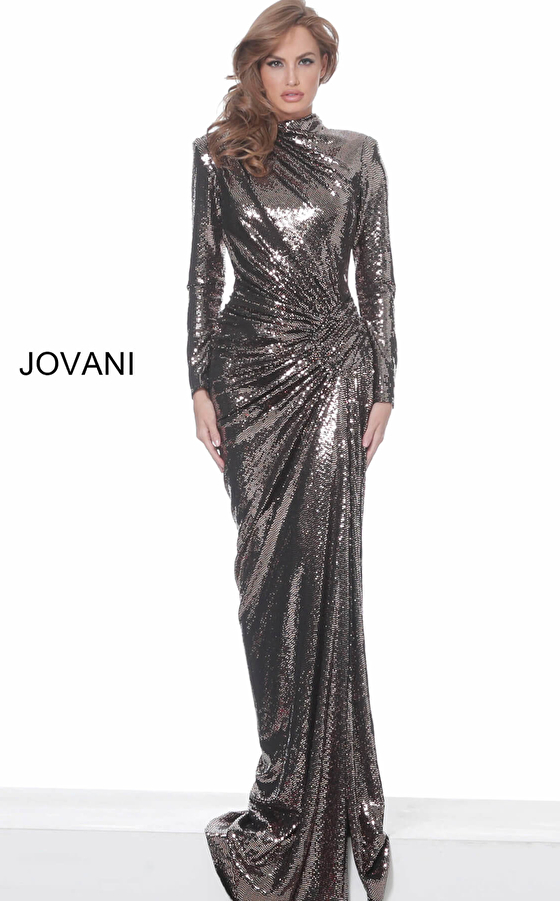 Long Sleeve Metallic Prom Dress 1707