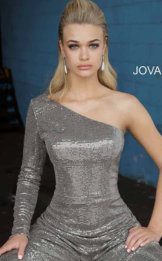 silver prom jumpsuit 1722 close up