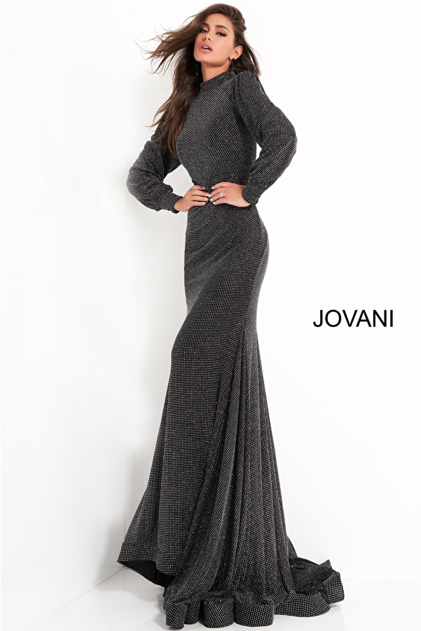 Jovani 1859 Black Silver High Neck Fitted Evening Dress