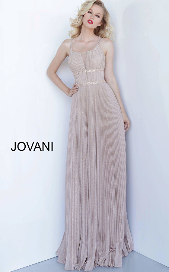 Jovani 2084 Rose Gold Criss Cross Back Pleated Evening Gown
