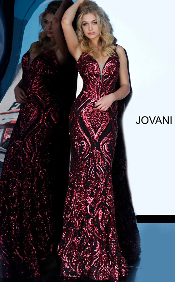 Black red plunging neck prom dress 2669