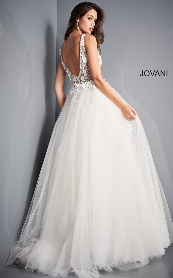 Ivory tulle Jovani prom gown 3110