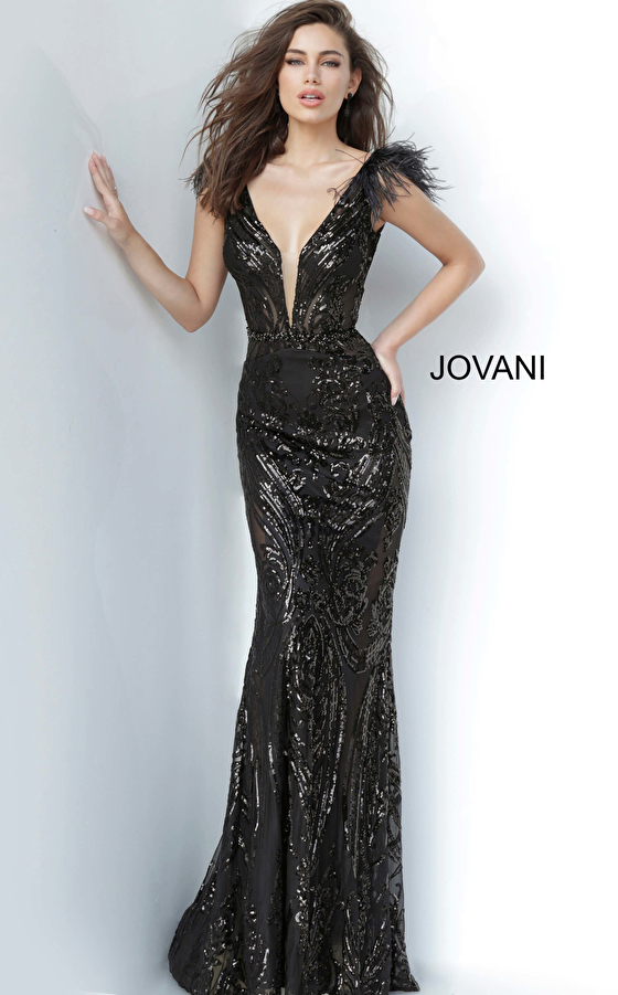 Black Sequin Fitted Evening Dress 3180