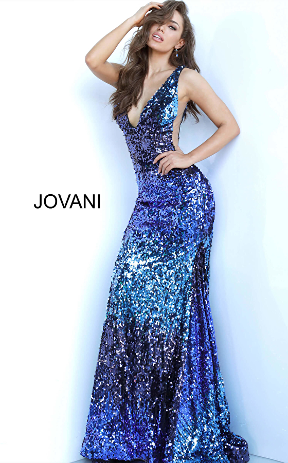 Blue Multi Sequin Plunging V Neck Jovani Dress 3192