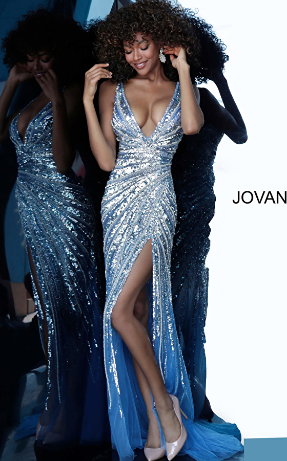 Sexy Low V Neck Jovani Prom Dress 3686