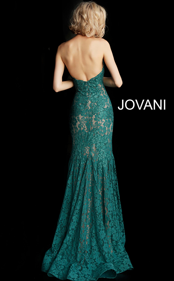 Emerald form fitting strapless lace dress 37334