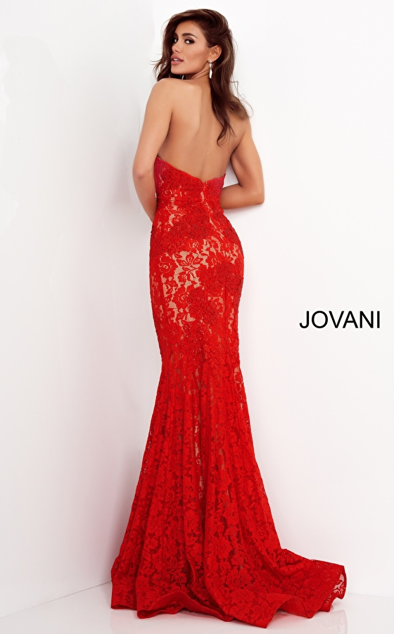 Fitted Strapless Lace Formal Dress 37334