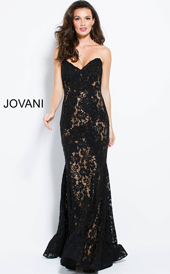 black front view fitted strapless prom dress 37334