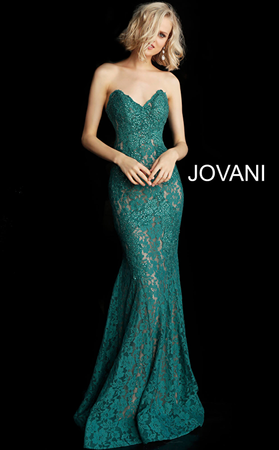emerald green lace small tail prom dress 37334 front view