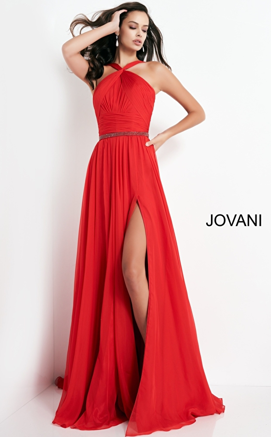 jovani Jovani 3836 Red Chiffon Maxi Prom Dress