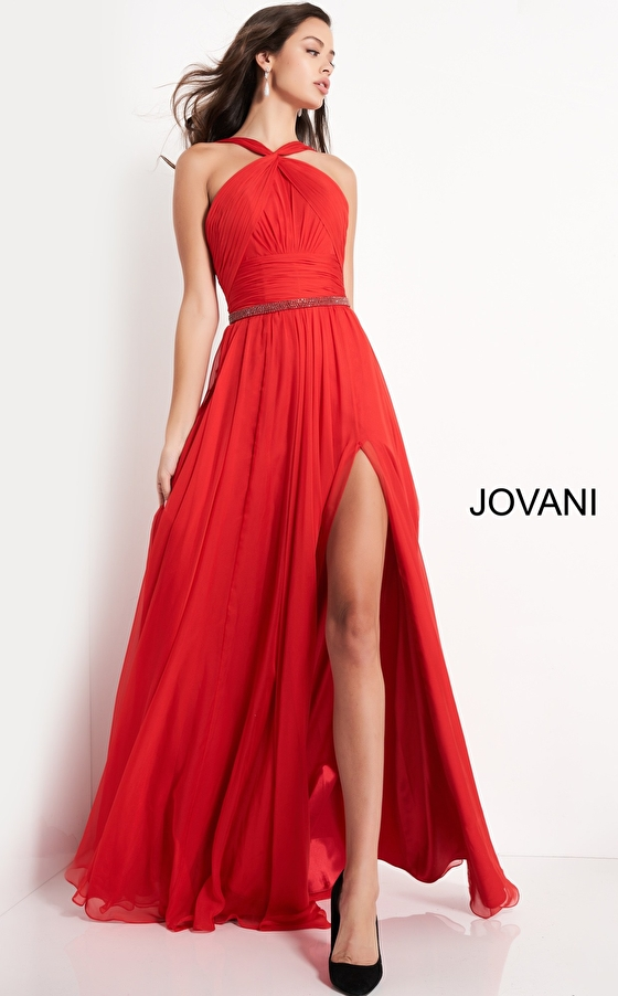 Jovani 3836 Red Chiffon Maxi Prom Dress