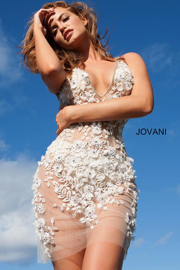 Jovani 3982 Embellished Sheer Backless Cocktail Dress