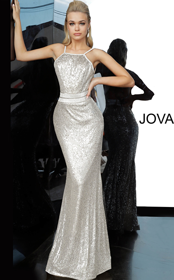 Silver Sequin Backless Prom Dress 4222
