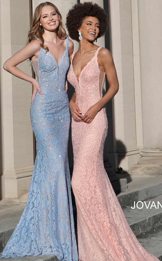 Pink and blue lace prom dresses 48994