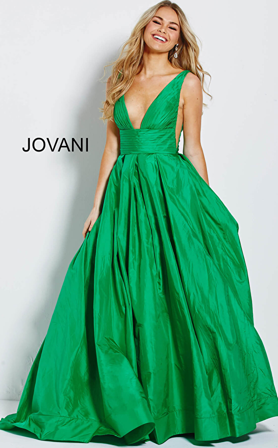 Emerald Pleated A-Line Skirt V Neck Jovani Gown 54812