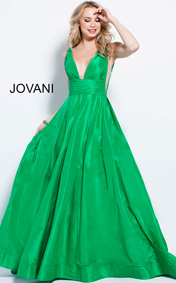 pleated bodice sheer sides green prom gown 54812