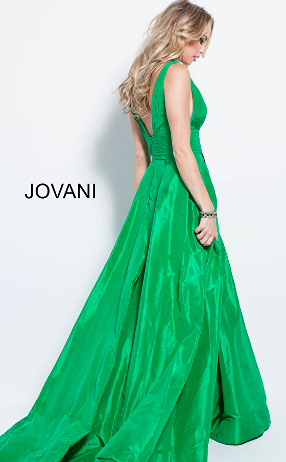 green floor length a line silk prom gown 54812