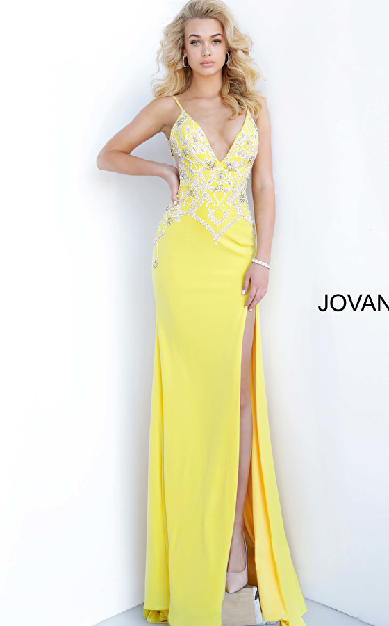 Yellow High Slit Embellished Couture Dress 54927