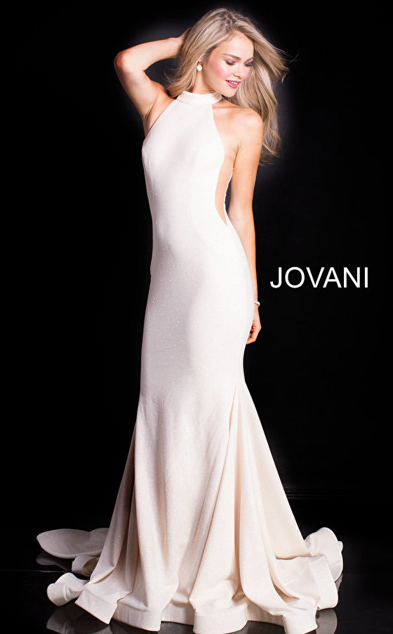 stretch ivory fabric sleeveless form fitting prom gown 55185