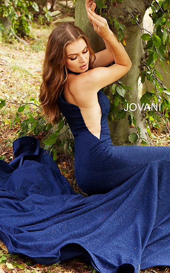 navy sheer sides close back prom gown 55185